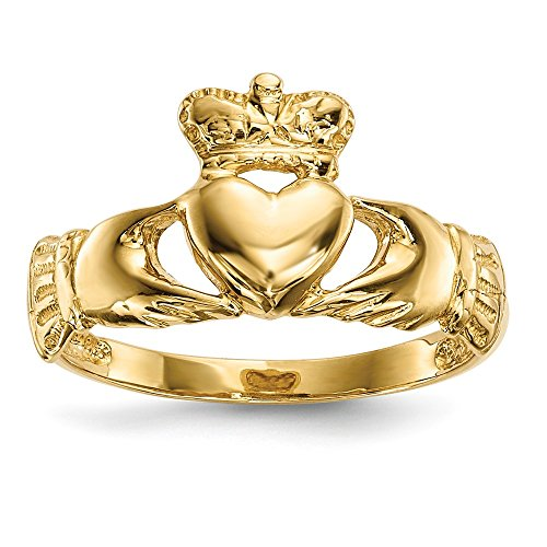(14k Yellow Gold Irish Claddagh Celtic Knot Band Ring Size 7.00 Fine Jewelry Gifts For Women For)