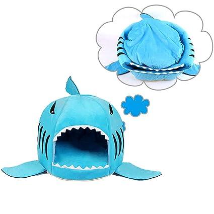 JLCYYSS Cama para Dormir para Mascotas, Shark Round House Camas 2 En 1 Cojín Suave
