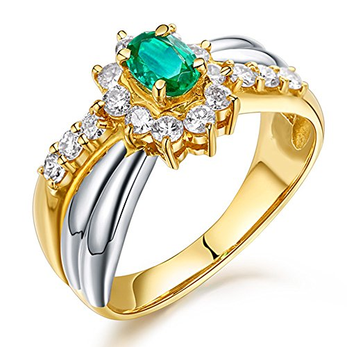Gold Ring 14kt Diamond Brilliant (Unique Amazing Natural Emerald Gemstone Brilliant Diamond Solid 14Kt White Gold and Yellow Gold Wedding Engagement Ring for Women)