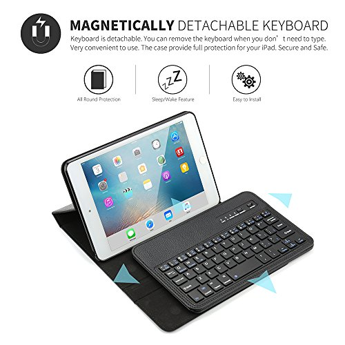 Boriyuan iPad Mini 4 Keyboard Case iPad Mini Smart Case Stand Folio Leather Cover with Detachable Wireless Bluetooth Keyboard and Screen Protector for Apple iPad Mini 4(Model:A1538/A1550) - Black by Boriyuan (Image #2)
