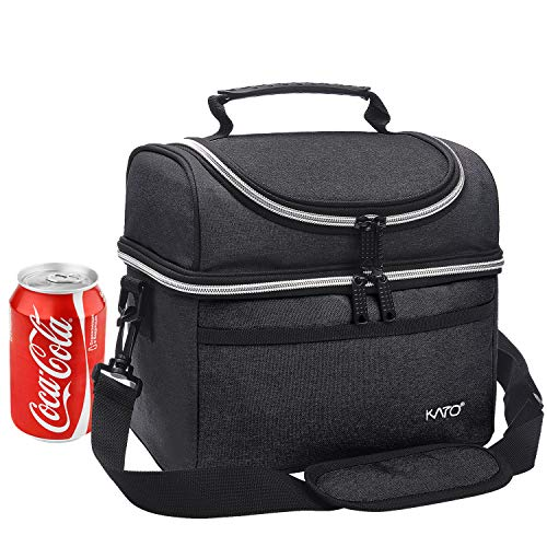 Kato Insulated Lunch Bag, Leakproof Thermal Bento Cooler Tote for Women and Men, Dual Compartment with Adjustable Shoulder Strap and Front Pocket, Black ()