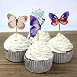 24pcs Butterfly Cupcake Toppers Picks Baby Shower Kids Birthday Party Cake Decorations