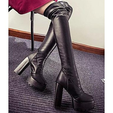 Knee Black For UK5 Boots EU38 Boots Over 5 Winter Fall RTRY Boots Pu 5 CN38 Heel US7 Casual Chunky Comfort Shoes Fashion The Women'S fwZOT