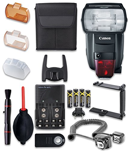 - Canon Speedlite 600EX II-RT Flash with Cleaning Pen + Dust Blower + Remote Control + Battery Charger + TTL Cord + U-Bracket