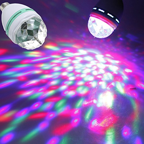 Stage Lights - E27 3w Colorful Rotating Rgb Spot Light Bulb For Party Disco Stage - Disco Light Bulb Rotating 4vwin Mini Ball Small Decoration Crystal Multi Color Strobe Green - 1PCs