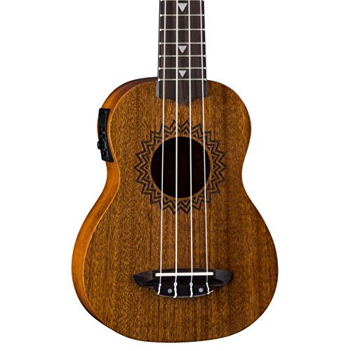 Luna Vintage Mahogany Acoustic/Electric Soprano Ukulele with Preamp, Satin Natural