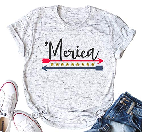 America USA Flag Shirts Women Merica Arrow Stars and Stripes Vintage Style tee top Blouse Casual(X-Large, ()