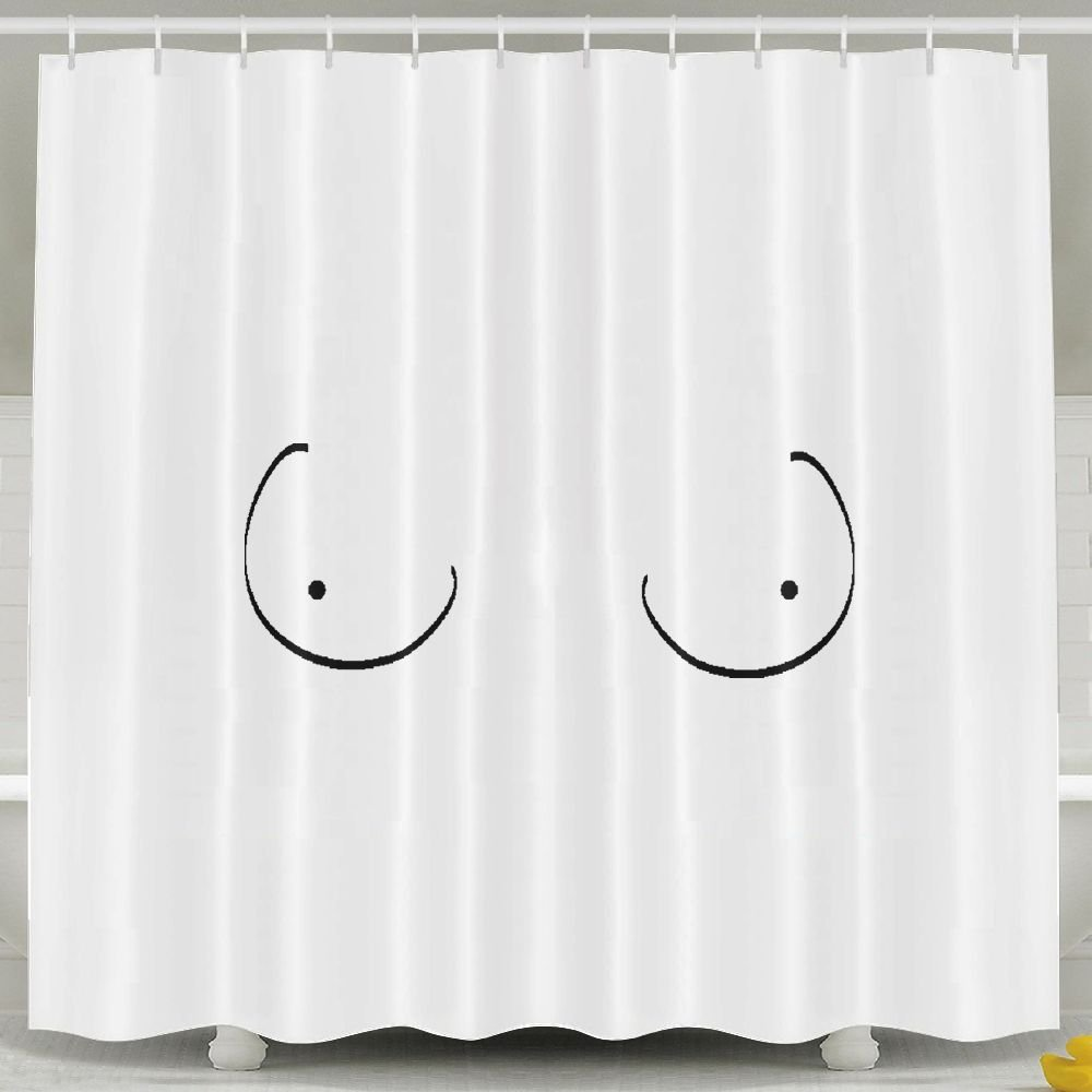 "NNHKY Fabric Polyester Shower Curtain - Standard 60"" X 72"" Inch, Hand Drawn Boobs, White"