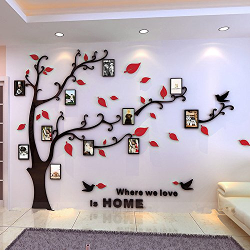 Beddinginn Tree Wall Sticker with Famliy Picture Frames DIY Branches Photo Gallery Frame Decor for Office and Home 118×72 Inches (Red Leaves,Left) ()