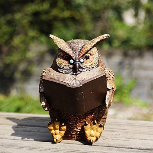 Ivy Home Schooling Garden Solar Resin Statuary Owl