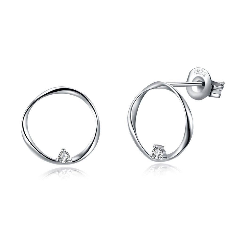 Valentines Gift For Women 925 Sterling Silver Open Circle Crystal Statement Earrings