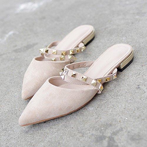 Abricot Sandales DHG 36 Plat Rivet Pointu Chaussures Romain Bout Paresseuses Mules Bout qYwvf7