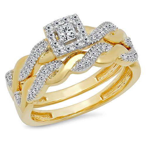 Dazzlingrock Collection 0.35 Carat (Ctw) 14K Princess & Round White Diamond Engagement Ring Wedding Set, Yellow Gold, Size 7 ()