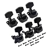 Kmise A0702 2 Set of 6 Piece 3l3r Semi Closed Guitar Tuning Pegs Machine Heads Tuners, Black