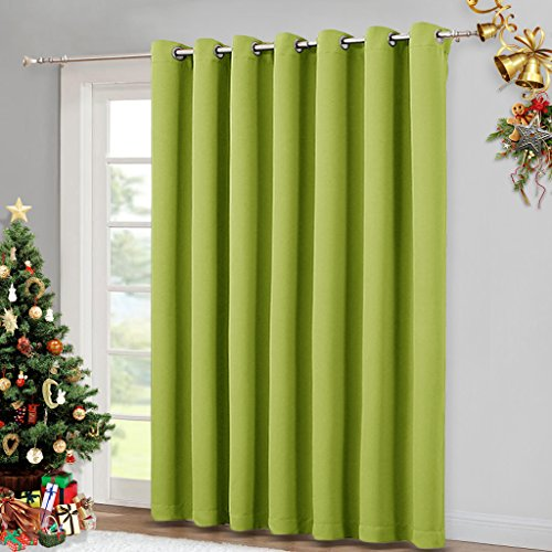 Door Panel Drapes (NICETOWN Glass Door Curtains for Window - Wide Thermal Curtain Panels, Sliding Door Drapes, Extra Wide Curtains (Fresh Green, 100