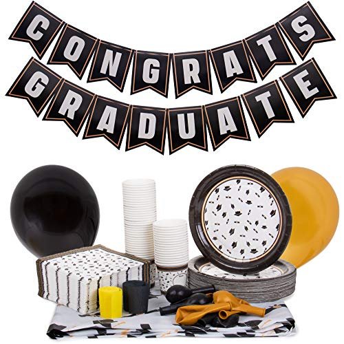 Black & Gold Graduation Party Supplies | Decoration Kit Includes Custom Tablecloth, Pennant Banner, 50 Plates, 15 Balloons, 50 Napkins, 50 Snack Cups | High School, College, and Kids Grad Accessories]()