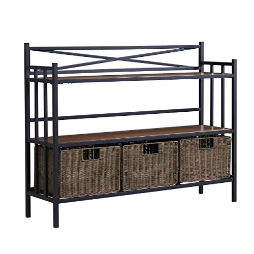 Furniture HotSpot – Bakers Rack w/Baskets - Distressed Pine w/ Rustic Brown - 40.25