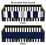 Sweet Jojo Designs Baby Crib Long Rail Guard Cover for Navy and Gray Stripe Print Bedding Collection