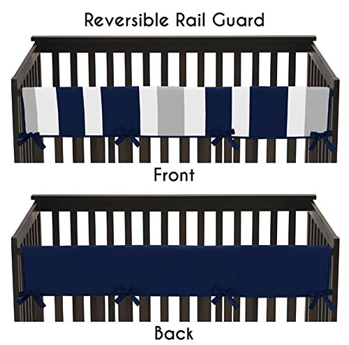 Sweet Jojo Designs Baby Crib Long Rail Guard Cover for Navy and Gray Stripe Print Bedding Collection by Sweet Jojo Designs
