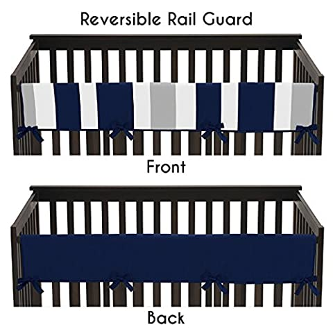 Baby Crib Long Rail Guard Cover for Navy and Gray Stripe Print Bedding Collection - Crib Teething Rail Cover