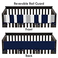 Baby Crib Long Rail Guard Cover for Navy and Gray Stripe Print Bedding Collec...
