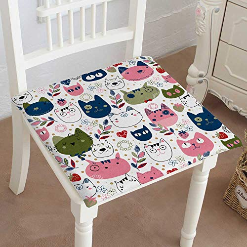 Mikihome Chair Seat Pads Cushions Kitty cat Wallpaper Square Car and Chair Cushion/Pad with Ties, Soft, for Indoors Or Outdoor 22