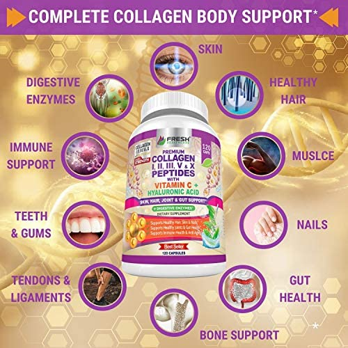 Multi Collagen Pills with Type I, II, III, V & X Peptides with Vitamin C, Hyaluronic Acid and Digestive Enzymes for Enhanced Absorption - Supports Healthy Hair, Skin, Nails and Joints - 120 Capsules 4