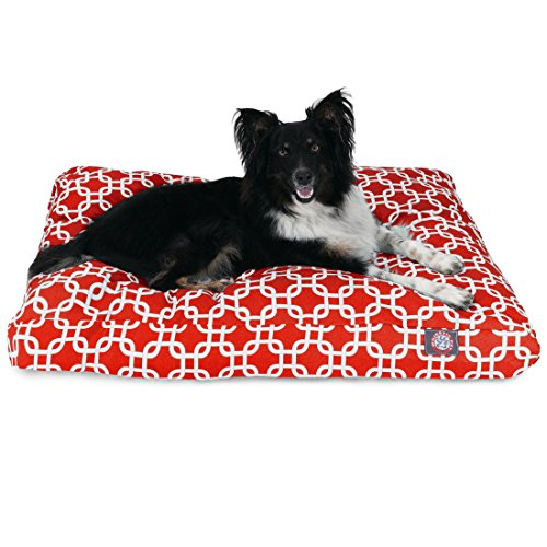 Red Links Medium Rectangle Indoor Outdoor Pet Dog Bed With R