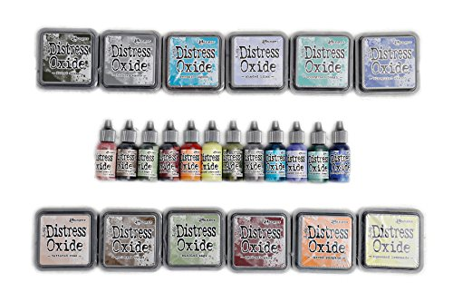 Ranger Tim Holtz January 2018 Distress Bundle - 12 Ink Pads and 12 Re-Inkers by Pixiss