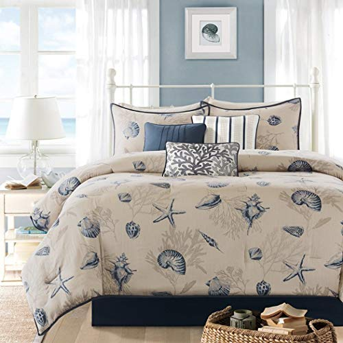 7 Piece Blue Color Comforter Set Queen, Beautiful Nature Pattern, Stylish Modern Design, Outstanding Beach Pattern, Star Fish Jelly Fish Sea Shells Sea Plants, Contemporary Nautical ()