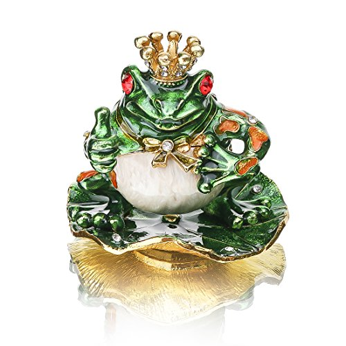 - YUFENG Crystals Animal Crown Frog Trinket Box Hinged for Gift,Bejeweled Jeweled Collectible Trinket Box