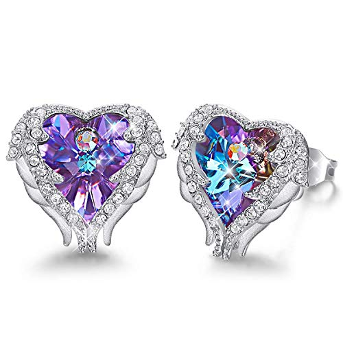 Caperci Angel Wings Purple Swarovski Crystal Heart Stud Earrings for Women Girls (Crystal Heart Ring Necklace With Swarovski Elements)