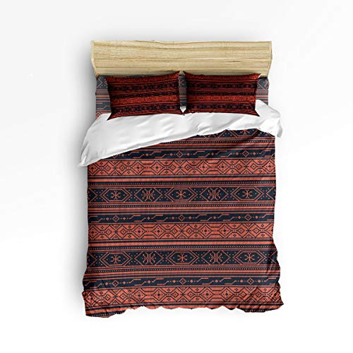 EZON-CH Full Size Duvet Cover Set Comfortable Bedding Sets, Style Orange Stripe Soft Bed Sets for Adult Teen Kids Girls Boys,Include 1 Duvet Cover 1 Bed Sheets 2 Pillow Case