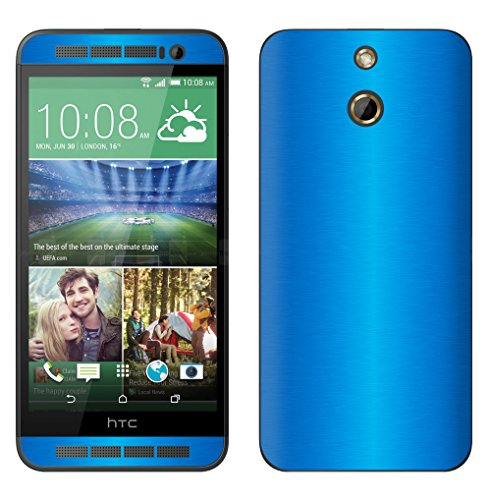 Decalrus - HTC One E8 LITE BLUE Texture Brushed Aluminum skin skins decal for case cover wrap BAoneE8LiteBlue