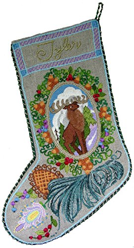 Crewel Embroidery Christmas Stockings - 'Jacobean Stag' Crewel Christmas Stocking