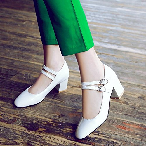 Carolbar Women's Charm Solid Color Mid Heel Square Toe Buckles Court Shoes White TANCaicpn