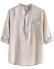 QiFei Herenshirt met opstaande kraag, korte mouwen, button shirts, linnen, V-hals, spiershirt, casual, linnen hemd, zomer, effen T-shirt, strand, vrijetijdshemd, katoen, sweatshirt, slim fit, blouse voor mannen