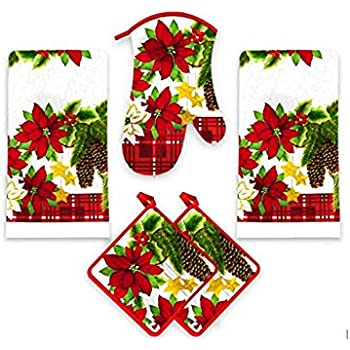 American Mills Christmas Poinsettia 5 Piece Printed Kitchen Linen Set Includes Towels Pot Holders Oven Mitt