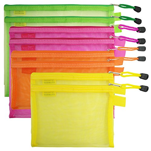 8 Pcs Zipper Mesh File Bags Folder Document Pockets with Bill B5 A5 A6 Size, AFUNTA 4 Color 4 Size Nylon Pencil Case Cosmetic Storage Office Pouch Holder- Orange, Yellow, Green, Rose Red