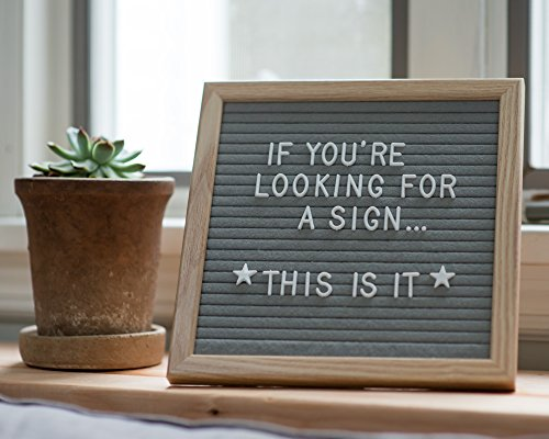 Changeable Felt Letter Board (10 x 10) 340 Customizable White Letters, Characters, Numbers, Emojis | Wall Hanging or Table Presentation Stand Sign | Incl. Storage Bag