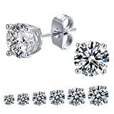 Outop Stud Earrings for Women Round Cubic Zirconia Stainless Steel Earrings Hypoallergenic Platinum Gold Plated 3-8mm (6 Pairs)