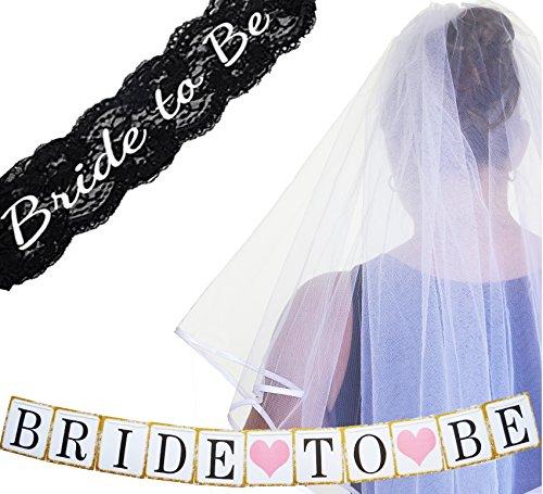 Bachelorette Party Decorations Supplies – SASH ~ VEIL BANNER Kit – Black (Wild Bride Sash)