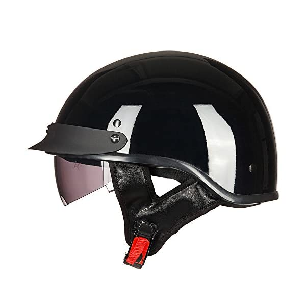 ILM Half Helmet Motorcycle Sun Visor Quick Release Buckle DOT Approved Half Face...