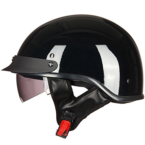 ILM Motorcycle Half Helmet With Integrated Sun Visor Quick Release Buckle DOT Approved (M, GLOSS BLACK) (Dot Approved Gloss)