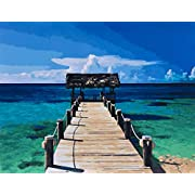 YXQSED [Frameless DIY Oil Painting Paint by Number Kit for Adult Home Decor Wall Pic Value Gift Beach Pavilion 16x20 Inch