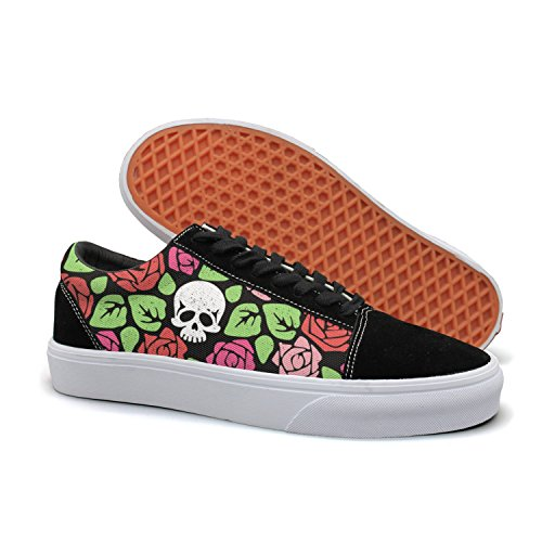 - HMAG Girls Skate Shoes Jogging Shoes Roses White Skulls Lightweight Sneaker For Casual Outfits