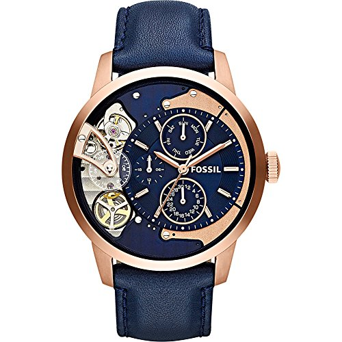 Fossil Men's ' Mechanical Hand Wind Stainless Steel and Leather Casual Watch, Color:Blue (Model: ME1138) by Fossil