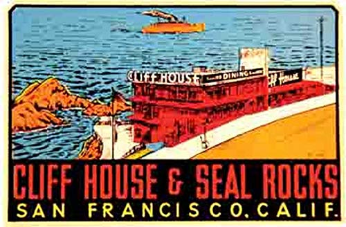 Cliff House and Seal Rocks San Francisco California Vintage Travel Decal Sticker ()