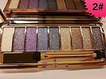 Mf Cosmetic 9 Colors Diamond Bright Colorful Makeup Eye Shadow Set Flash Glitter Eyeshadow Palette with Brush,Edition 6