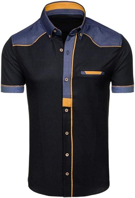 GKKYU Marcas Hombres Camisa Casual Slim Fit Camisas de Vestir de Manga Corta Elegante Casual Moda Camisas Vintage Blancas para Hombres Ropa: Amazon.es: Deportes y aire libre